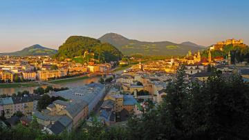Картинка зальцбург+австрия города зальцбург+ австрия крепость дома мост зальцбург река пейзаж
