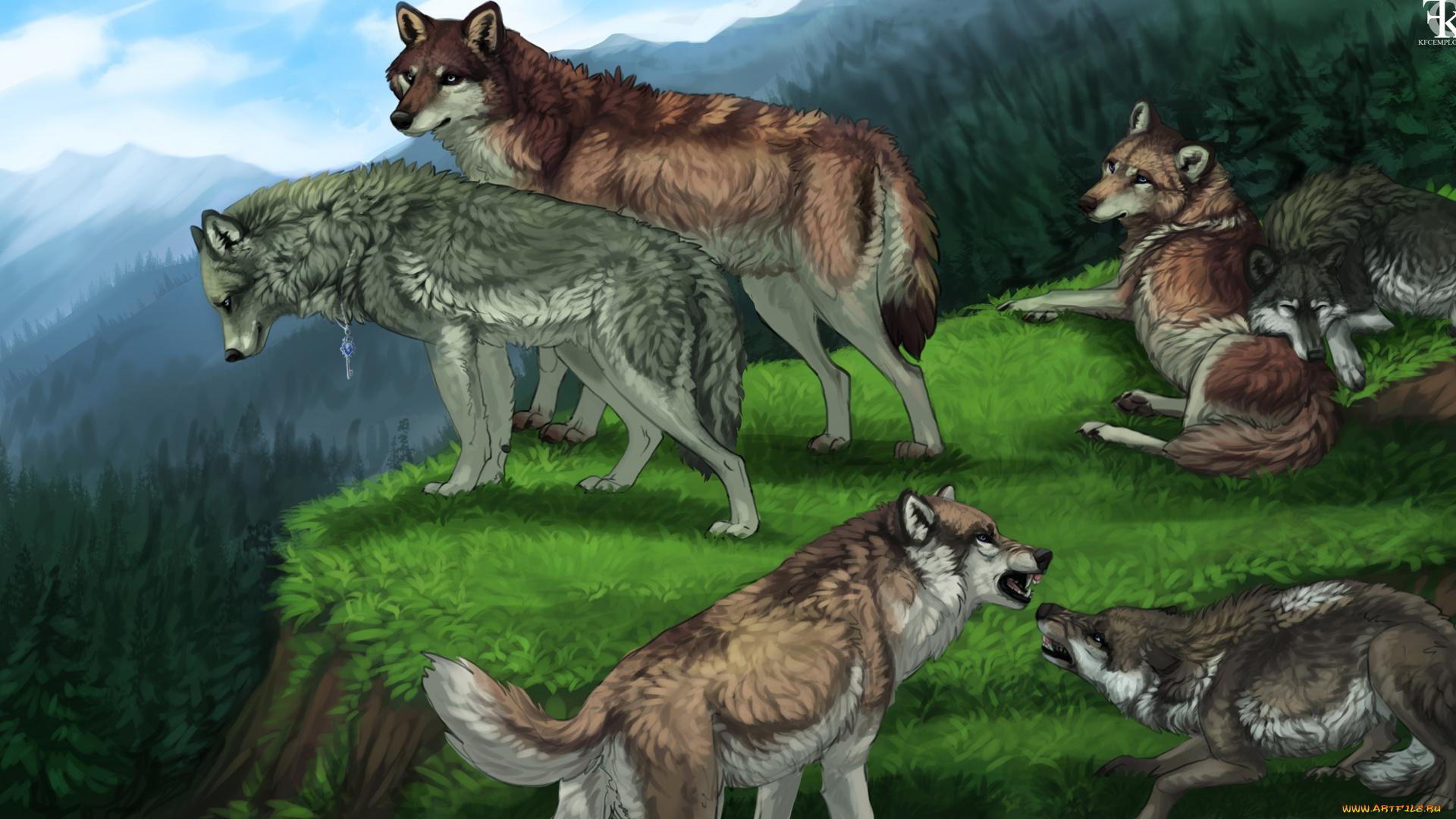 Красивые арты стаи волков
