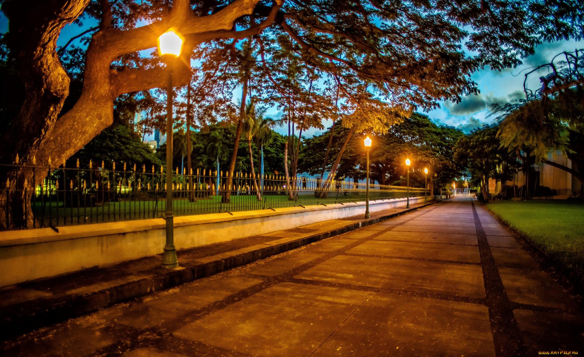 вечер забор фонари скачать
