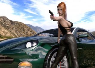 обоя 3д графика, люди-авто, мото , people- car ,  moto, оружие, фон, девушка, взгляд
