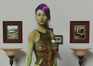 обоя 3д графика, _science fiction, девушка, взгляд, фон