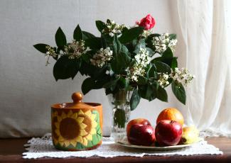 обоя еда, натюрморт, яблоки, кувшин