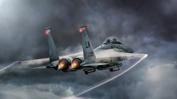 обоя mcdonnell douglas f-15c eagle, авиация, боевые самолёты, истребитель