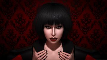 обоя 3д графика, фантазия , fantasy, вампир, фон, взгляд, девушка