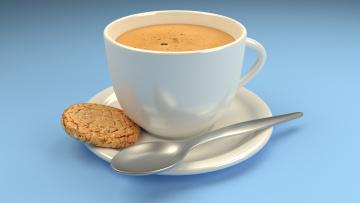 обоя еда, кофе,  кофейные зёрна, печенье, чашка