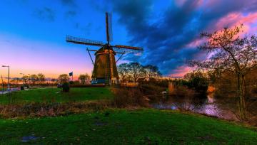обоя амстердам, разное, мельницы, пруд, мельница, облака, деревья