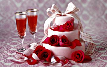 обоя еда, торты, розы, бант, торт, вино