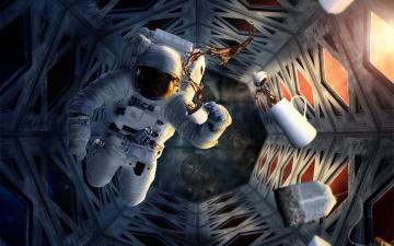 обоя космос, астронавты, космонавты, кофейник, скафандр, астронавт, станция, невесомость