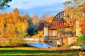 обоя города, - мосты, осень, река, мост