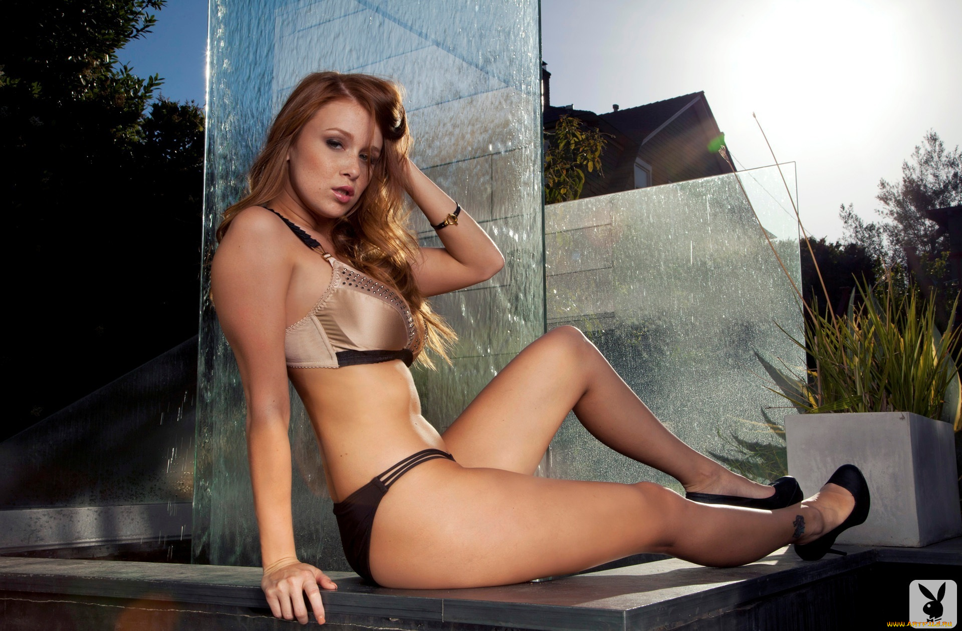 Leanna Decker doffs her elegant gown to pose erotically near the fireplace  1103014