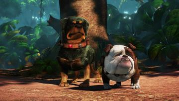 обоя мультфильмы, up, собака, растения, двое