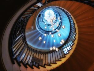 обоя интерьер, холлы,  лестницы,  корридоры, свет, шары, лестница
