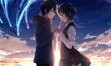 Картинка аниме kimi+no+na+wa фон взгляд девушка парень