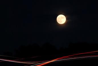 обоя векторная графика, другое , other, огни, ночь, луна