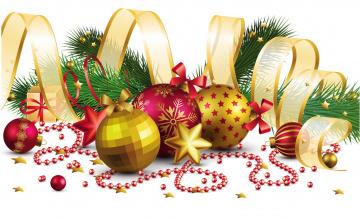 обоя праздничные, векторная графика , новый год, ветки, шары, игрушки