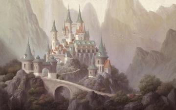 обоя фэнтези, замки, горы, арт, дворец