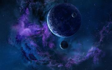 обоя космос, арт, звезды, вселенная, галактика, планеты