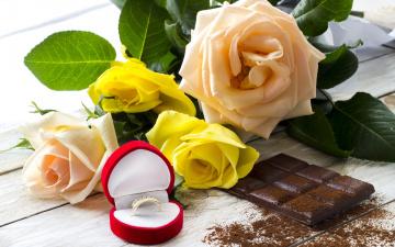 обоя разное, украшения,  аксессуары,  веера, ring, сладкое, chocolate, розы, кольцо, roses, шоколад