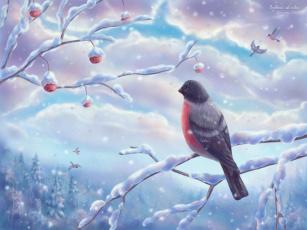 обоя рисованные, животные, птицы