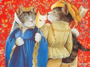обоя рисованные, животные, сказочные, мифические, кот, кошка, карнавал, маска