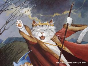 обоя рисованные, животные, сказочные, мифические, кот, корона, король