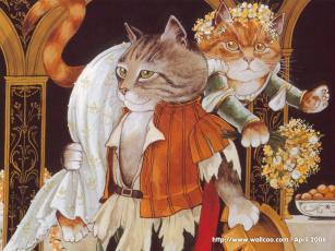 обоя рисованные, животные, сказочные, мифические, кот, кошка, похищение