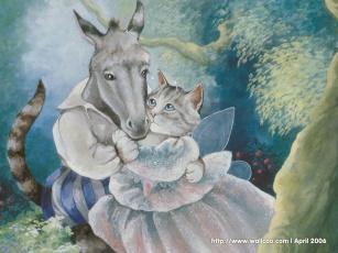обоя рисованные, животные, сказочные, мифические, осел, кошка