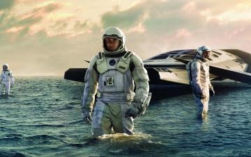 Картинка кино+фильмы interstellar matthew mcconaughey вода планета spaceship starship море