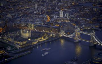 обоя shard,  london, города, лондон , великобритания, мост, река