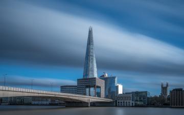 обоя shard on speed,  london, города, лондон , великобритания, река, мост