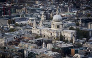 обоя st pauls,  london, города, лондон , великобритания, ночь, собор