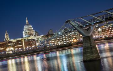 обоя st pauls & millennium bridge,  london, города, лондон , великобритания, собор, ночь