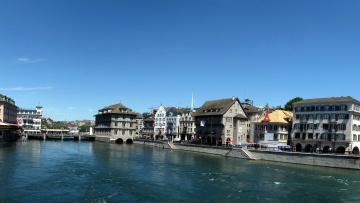 Картинка zurich switzerland города цюрих швейцария озеро мост дома