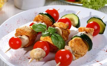 Картинка еда шашлык барбекю шампиньоны базилик цуккини помидоры мясо