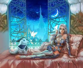 Картинка фэнтези красавицы+и+чудовища красавица постель королевство полумесяц луна ночь девушка