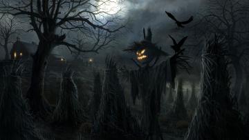 Картинка праздничные хэллоуин ночь ворон дерево тыква