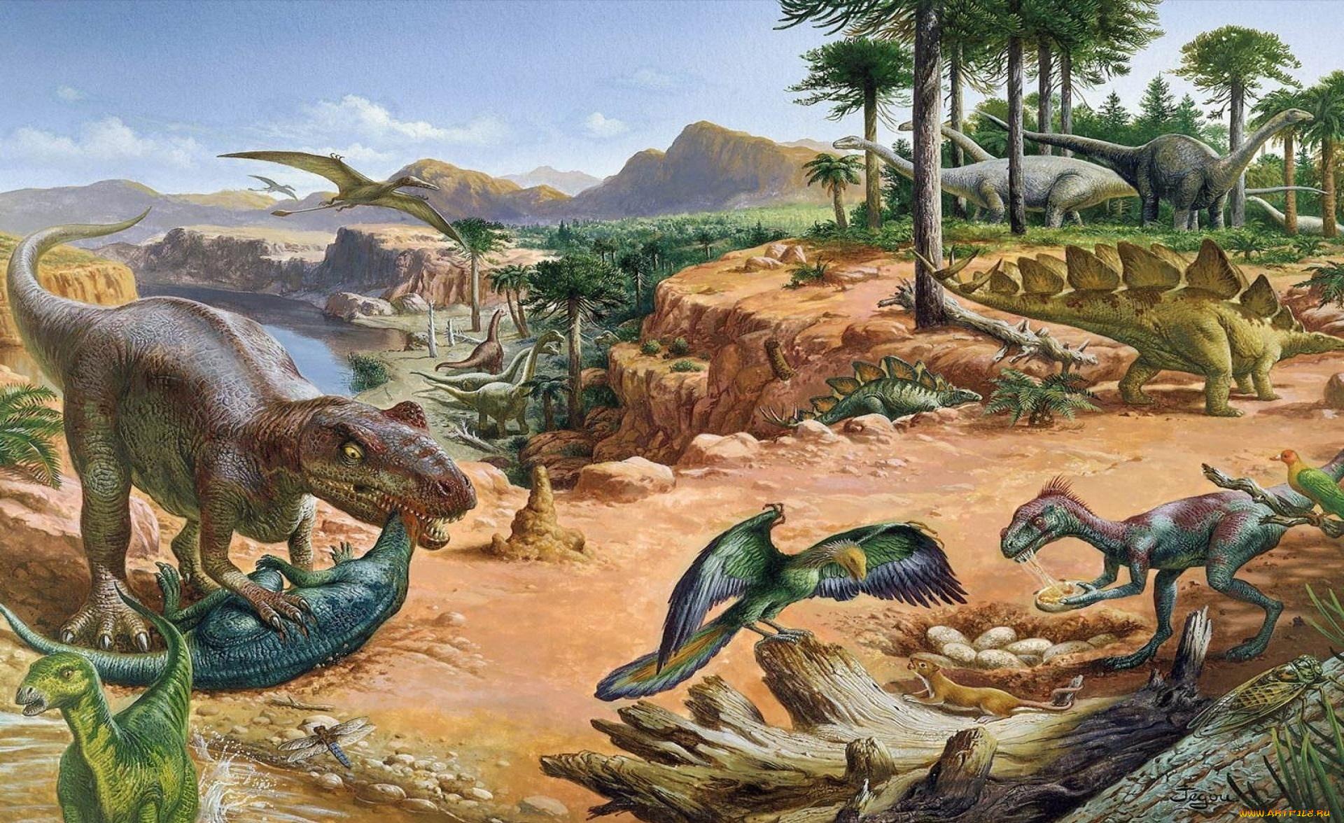 Картинки древнего мира с динозаврами