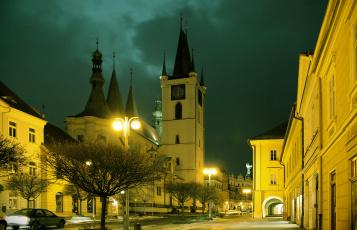 Картинка Чехия литомерице города улицы площади набережные огни ночь