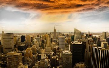 Картинка manhattan +new+york+city города нью-йорк+ сша new york city манхэттен нью-йорк здания небоскрёбы панорама