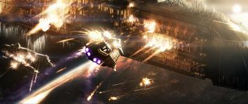 обоя видео игры, warhammer 40, 000,  space marine, космос, корабли, война, огонь