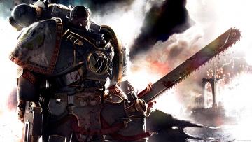 обоя видео игры, warhammer 40, 000,  dark millenium online, воин, скафандр, оружие, пила