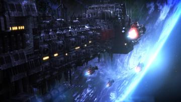 обоя видео игры, warhammer 40, 000,  space marine, космос, корабли, планета