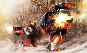 обоя видео игры, warhammer 40, 000,  dark millenium online, скафандры, роботы, оружие, дворец, дым