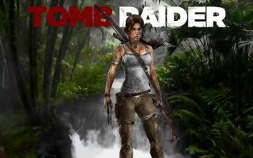 обоя видео игры, tomb raider 2013, девушка, фон, взгляд, лук, ледоруб, пистолет