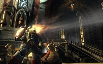 обоя видео игры, warhammer 40, 000,  space marine, здание, трубы, лестница, воин, скафандр, огонь