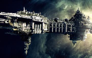 обоя видео игры, warhammer 40, 000,  space marine, космос, корабль, звезды, туманность