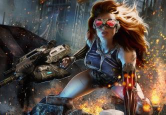 Картинка crysis видео игры автомат искры город оружие трещина очки девушка
