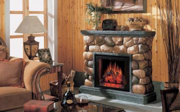 Картинка интерьер камины комната камин окно диван светильник стол