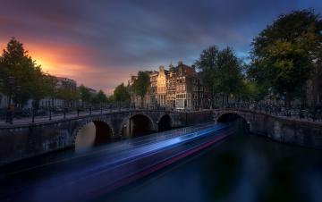 обоя города, - огни ночного города, мост, вечет, дома