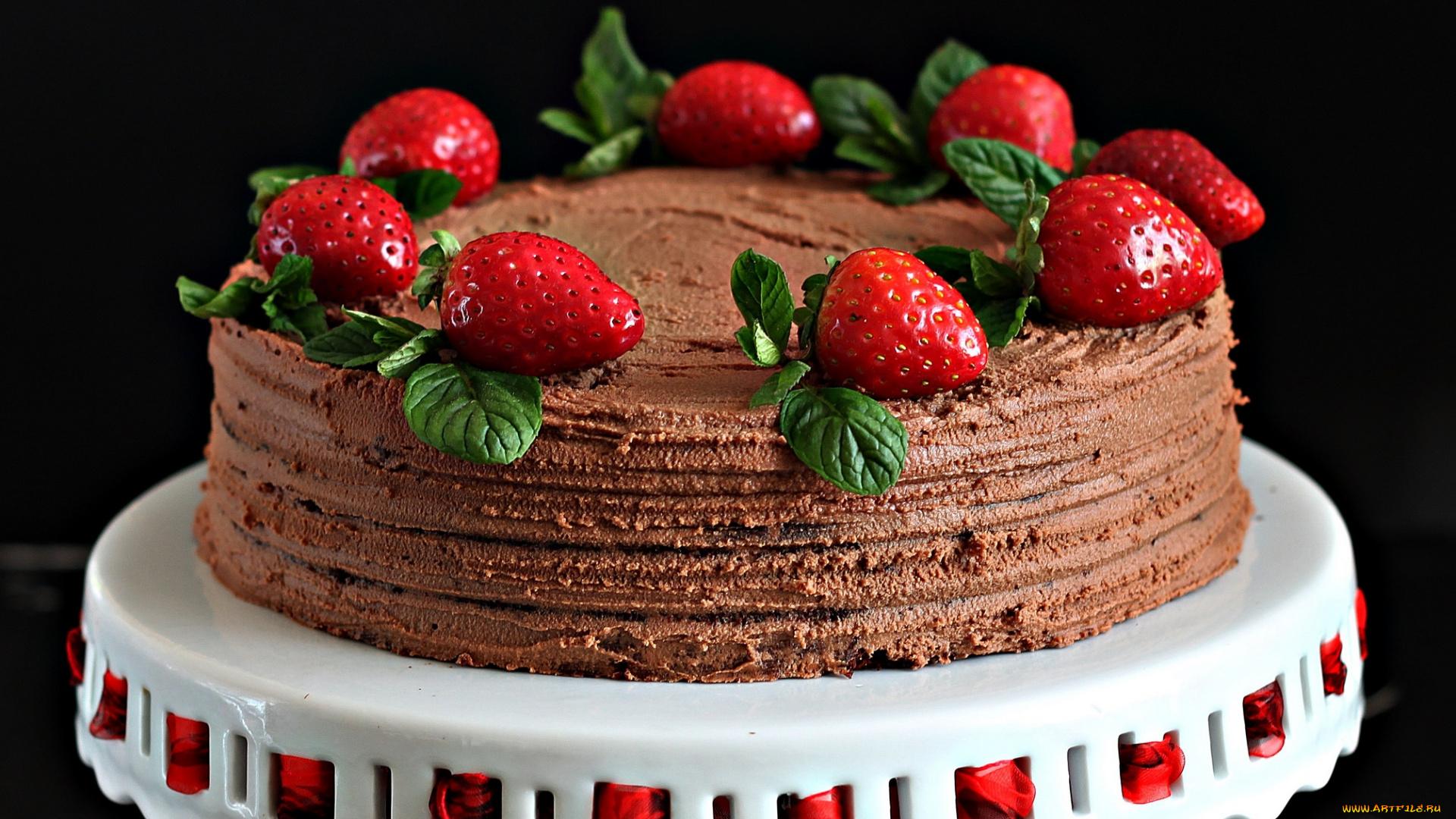 еда торт клубника смотреть